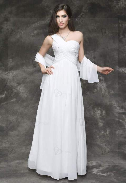 Long white evening dress refined